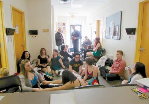 ACTORS PREPARE in the hallways at Maine State Music Theatre's Local Auditions last year.