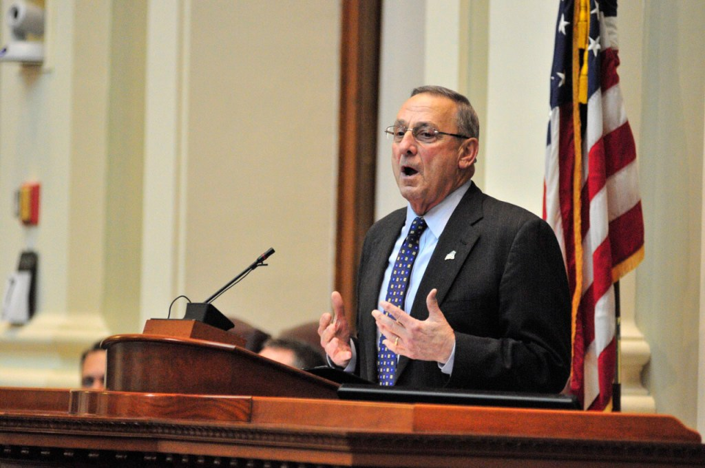 Gov. Paul Lepage gives his State of the State address Tuesday night at the State House.