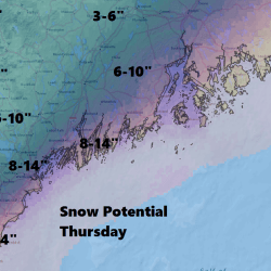 Coastal areas which will be closest to the center of the storm will see the most snow.