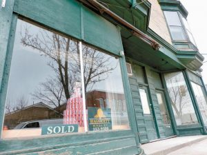 THE MOXIE BUILDING at the corner of Route 196 and Main Street, which contained the Kennebec Fruit Co. store, was sold Friday to Traci and Tony Austin of Lisbon.