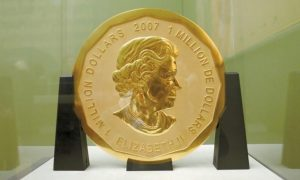 THE GOLD COIN 'Big Maple Leaf' in the Bode Museum in Berlin. The 220 pound gold coin disappeared from the museum.