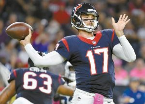 HOUSTON TEXANS' Brock Osweiler (17) throws against the Indianapolis Colts during the first half of an NFL football game on Oct. 16, 2016, in Houston. The Texans traded Osweiler to the Cleveland Browns on Thursday.