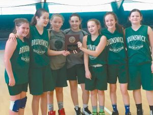 THE BRUNSWICK SIXTH-GRADE girls basketball team finished as the runners-up in the Bath Recreation Tournament recently. Brunswick won five straight games before falling to Gray-New Gloucester in the championship game. Pictured left to right are Sophia Morin, Carley Mershon, Gabby Swain, Jordyn Cummings, Kelsie Carlton, Ashley Wyman and Ellie Sullivan.