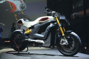 A PROTOTYPE of a new electric motorcycle by the Italian Volt company is displayed during its official presentation in Milan, Italy, earlier this month. According to the Italian Volt company, the motorcycle takes 4.6 seconds to reach 62 mph and can reach a maximum speed of 111 mph.