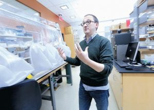 FEDERICO REY, assistant professor of bacteriology at UW-Madison, discusses ongoing department studies in his research lab on the campus of UW-Madison in Madison, Wisconsin.