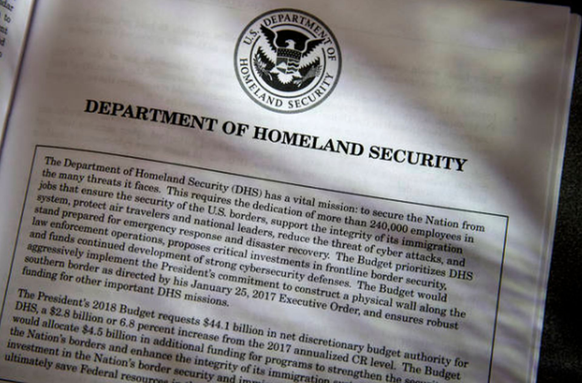 Proposals for the Homeland Security Department in President Donald Trump's first budget are displayed at the Government Printing Office in Washington, Thursday, March, 16, 2017. (AP WIREPHOTO/J. Scott Applewhite
