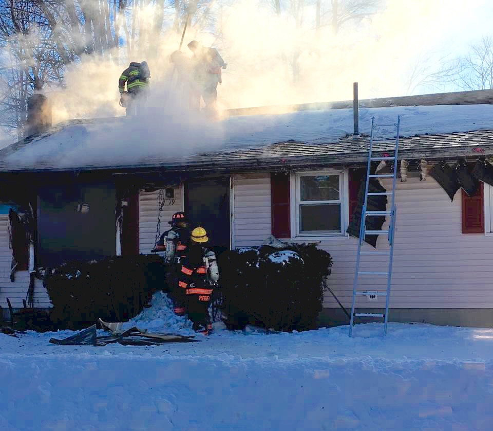 Firefighters from four southern Maine communities fought this blaze at 19 Harmon Ave., in Old Orchard Beach Saturday night. the home was occupied by Maurice and Barbara Doucette and their children. One family member sustained burns, was treated at hospital and has since been released. COURTESY PHOTO/Perian Carpenter