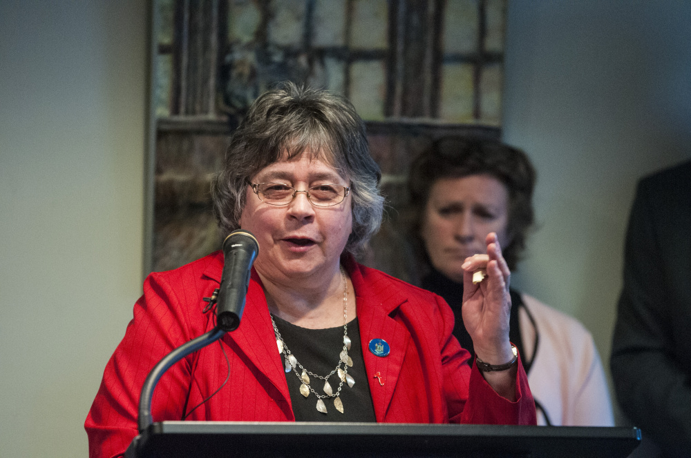 "Rep. Anne Perry, D-Calais, who spoke at a news conference in April 2017, said of public health nurse staffing, ""Maine people have suffered and the remaining nursing staff is being stretched to the breaking point."" Perry is a family nurse practitioner."