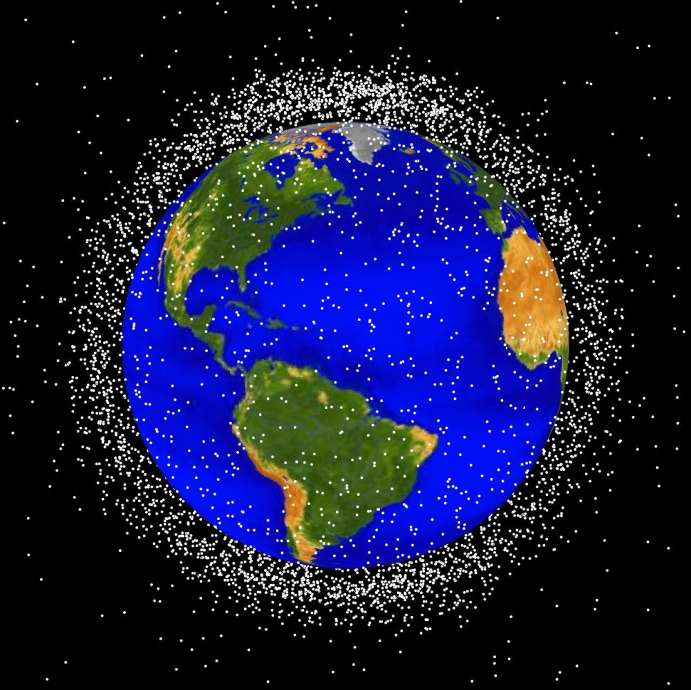 An illustration by NASA's Orbital Debris Program shows the concentration, but not the scale, of the hazardous cloud of junk circling Earth.
