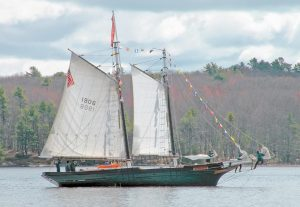 THE MARY E prepares to dock at Maine Maritime Museum in Bath. MMM purchased the schooner in November.