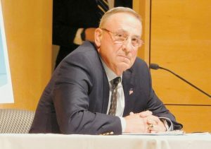 GOV. PAUL LEPAGE, above, at a town hall event at the University of Southern Maine Tuesday in Portland.