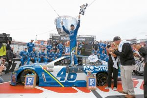 DRIVER JIMMIE JOHNSON (48) celebrates after winning a NASCAR Monster Energy NASCAR Cup Series auto race on Monday in Bristol, Tenn.