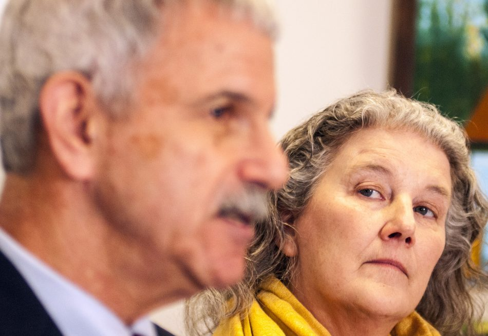 Sen. Roger Katz, R-Augusta, and Eva Thompson, who said she has been diagnosed with terminal cancer, talk to reporters about her support for L.D. 347 during a news conference on Tuesday at the State House.