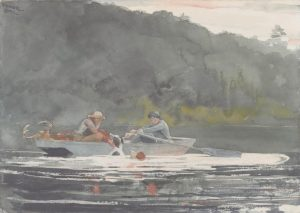 """""""THE END OF THE HUNT,"""" 1892, watercolor over graphite, by Winslow Homer. Gift of the Misses Harriet Sarah and Mary Sophia Walker. Bowdoin College Museum of Art, Brunswick."""