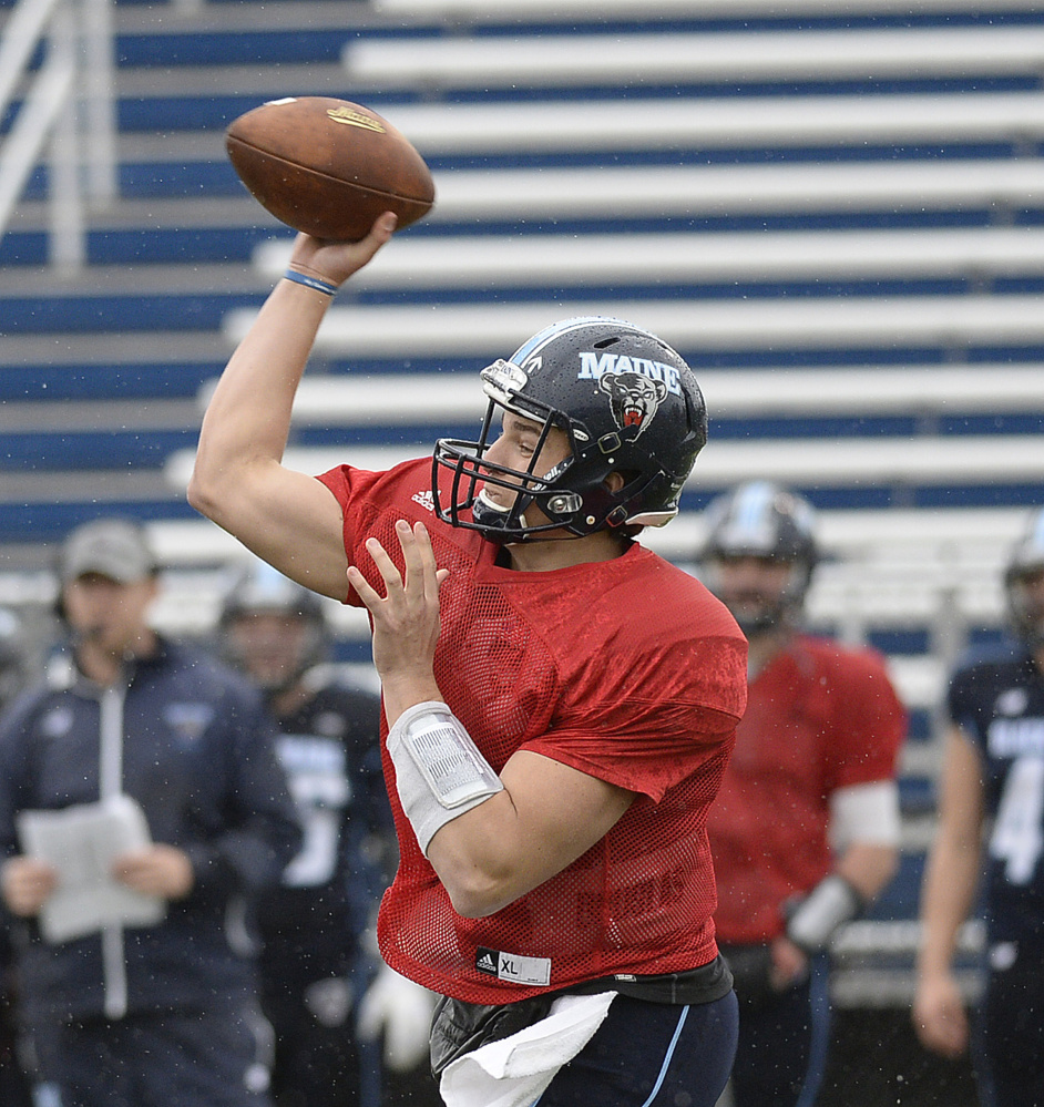 University of Maine quarterback Christopher Ferguson throws a pass.