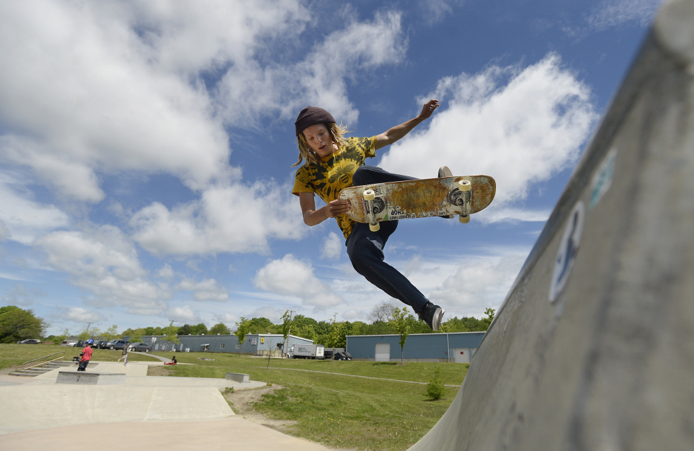 Sky Bullard of Portland takes to the air at the skate park at Dougherty Field in Portland on Saturday.