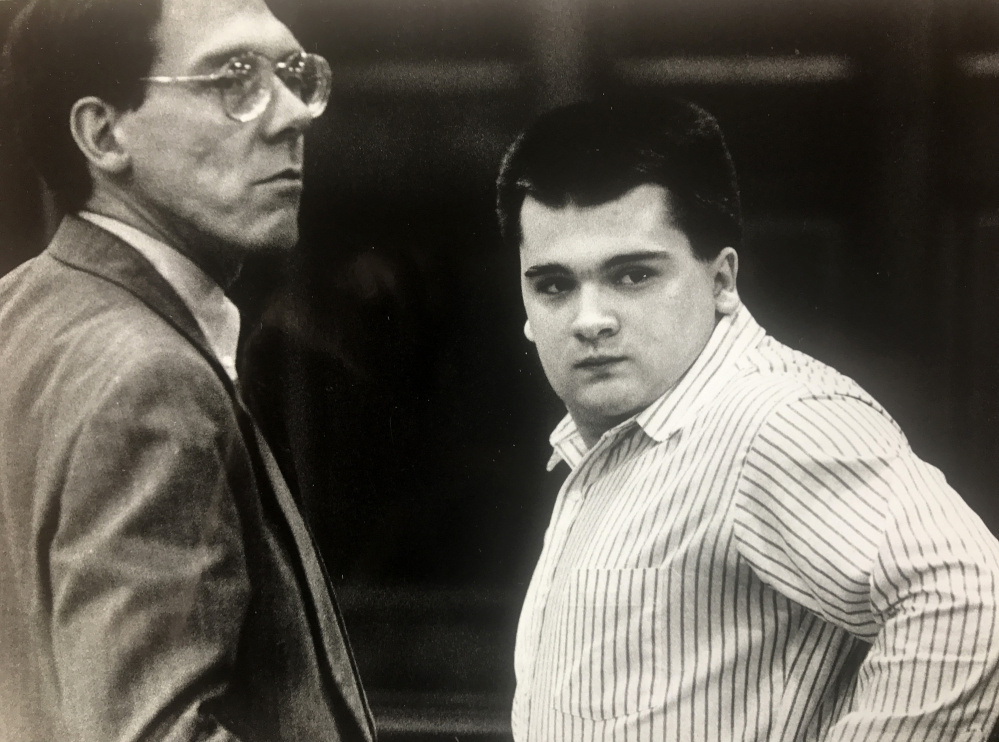 Anthony Sanborn Jr., right, was found guilty in 1992 of murdering Jessica L. Briggs in Portland, but was released this year pending a hearing on his attorney's allegations of misconduct by authorities to win a conviction.