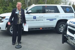 MID COAST-PARKVIEW HEALTH President and CEO Lois Skillings addresses the crowd at the Paramedic Interceptor Service's 20th anniversary celebration at Harpswell Emergency Services Building on Wednesday.