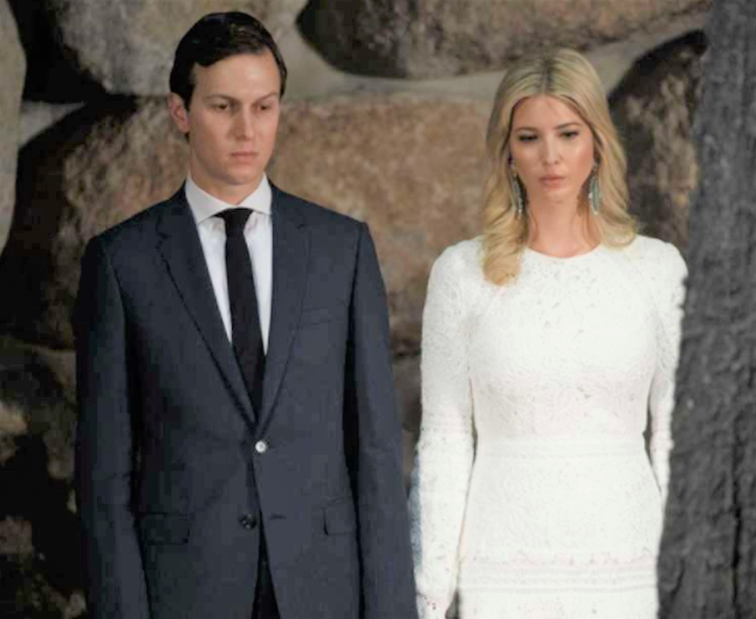 White House senior adviser Jared Kushner, left, and his wife Ivanka Trump watch during a visit by President Donald Trump to Yad Vashem to honor the victims of the Holocaust in Jerusalem. AP WIREPHOTO