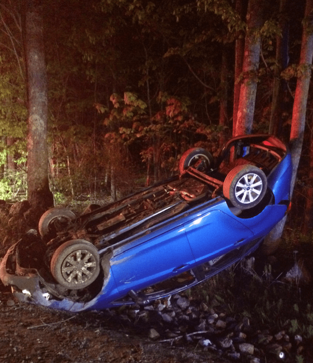 A Baldwin woman was helped from this 2013 Ford Fiesta Sunday night by a woman who lives nearby and heard the crash, which took place around 9 p.m. on Cape Road in Limington. COURTESY PHOTO/York County Sheriff's Office.