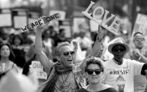 MARCHERS CELEBRATE during the Los Angeles LGBTQ #ResistMarch, Sunday in West Hollywood, California.
