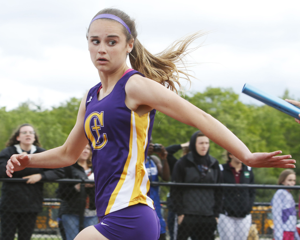 Freshman Emma Gallant of Cheverus won two individual events at the Class A championship meet, then went on to take the New England title in 24.81 seconds – the second-best time in Maine history.