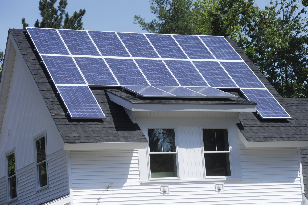 A bill that would maintain net metering for solar producers like this home in Wells has been vetoed by Gov. LePage, but the Maine Legislature can, and should, revive it. Staff photo by Shawn Patrick Ouellette