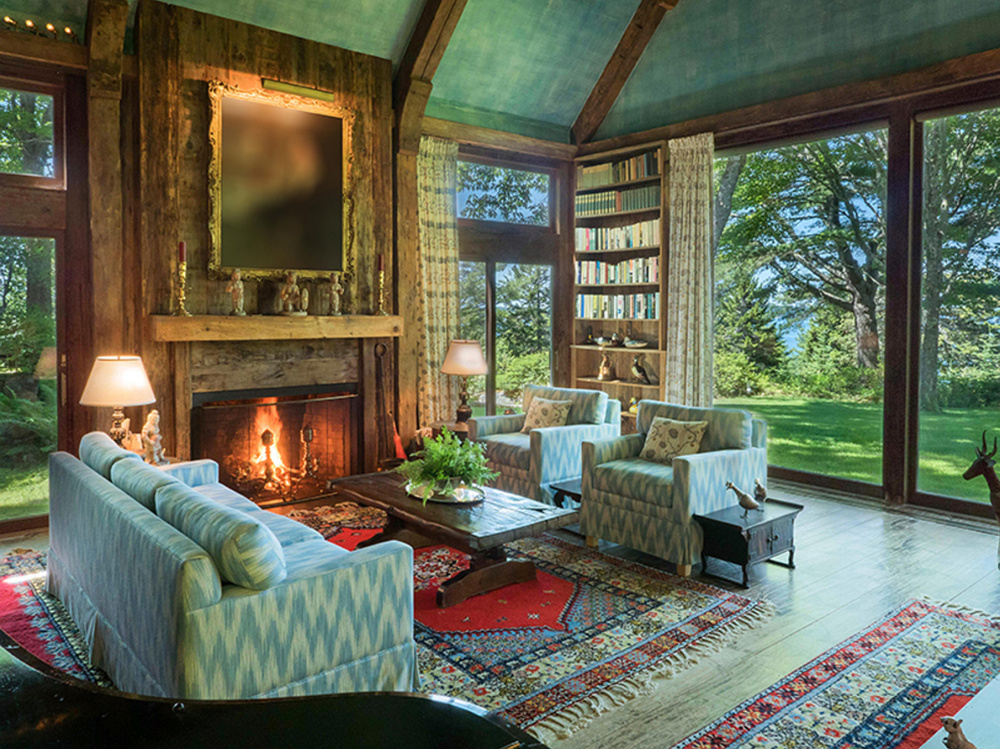 The seven-bedroom, 5,034-square-foot main house on the Rockefeller estate includes this living room. The main home and estate sit on 14.5 acres and were designed by Peggy Rockefeller in 1972.