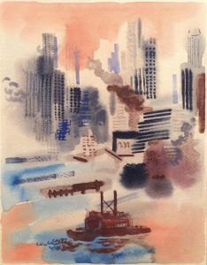 GEORGE GROSZ'S painting of New York in 1936 will be on view at the Wiscasset Bay Gallery July 8 through Aug. 4.