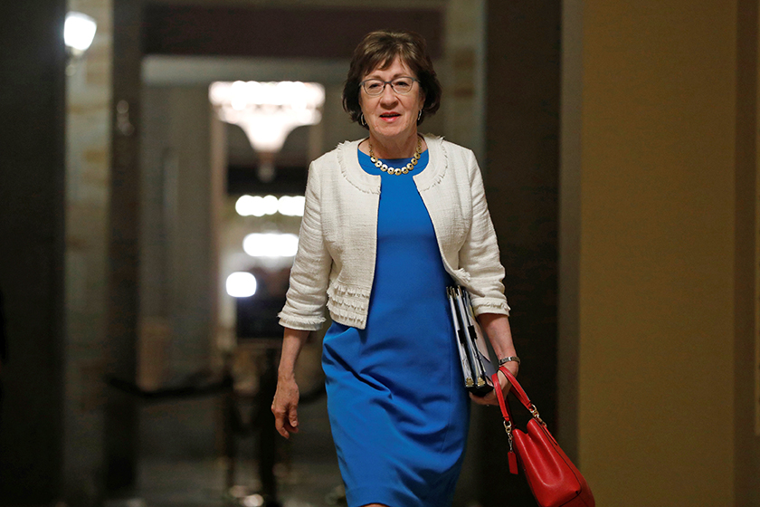 "Sen. Susan Collins  walks to the Senate floor ahead of a vote on the health care bill on Capitol Hill. She cast a key vote Friday morning blocking the so-called  ""skinny"" repeal of the Affordable Care Act."
