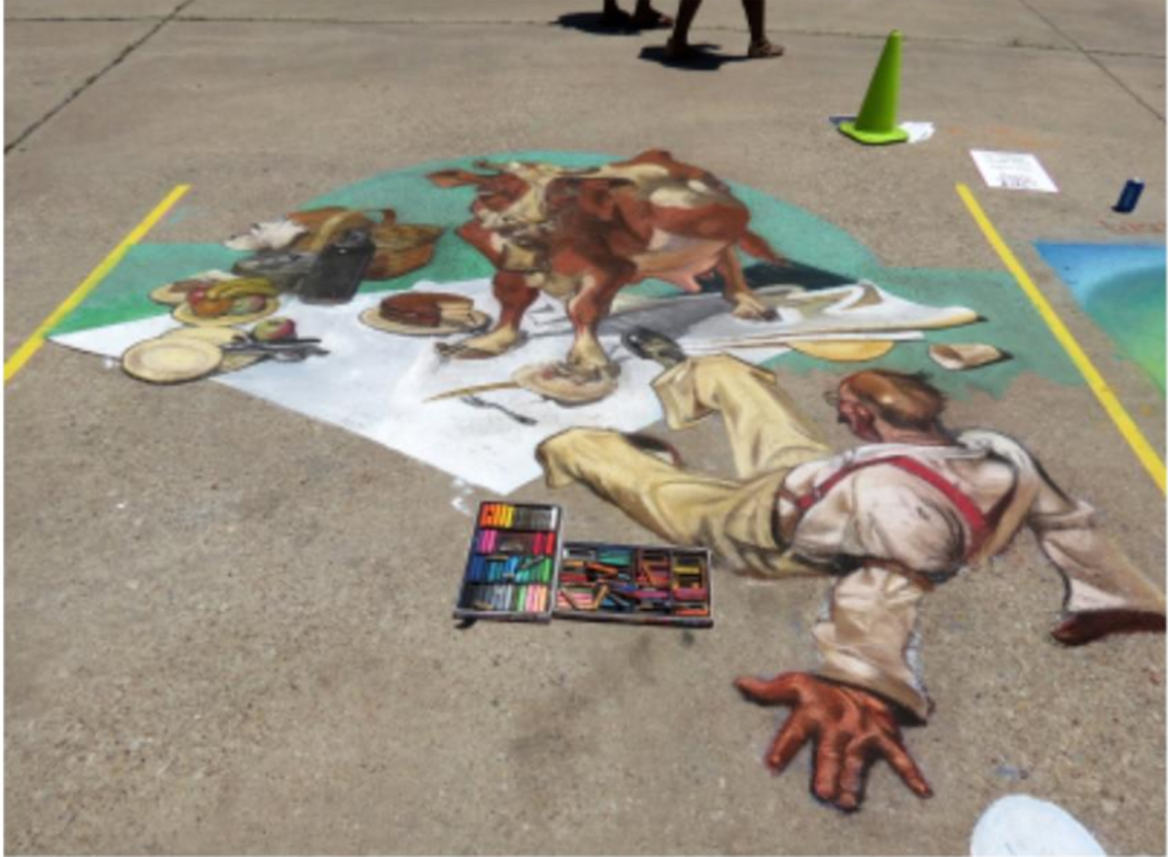 A masterpiece created by chalk on display on pavement. COURTESY PHOTO/ Laurie Smith