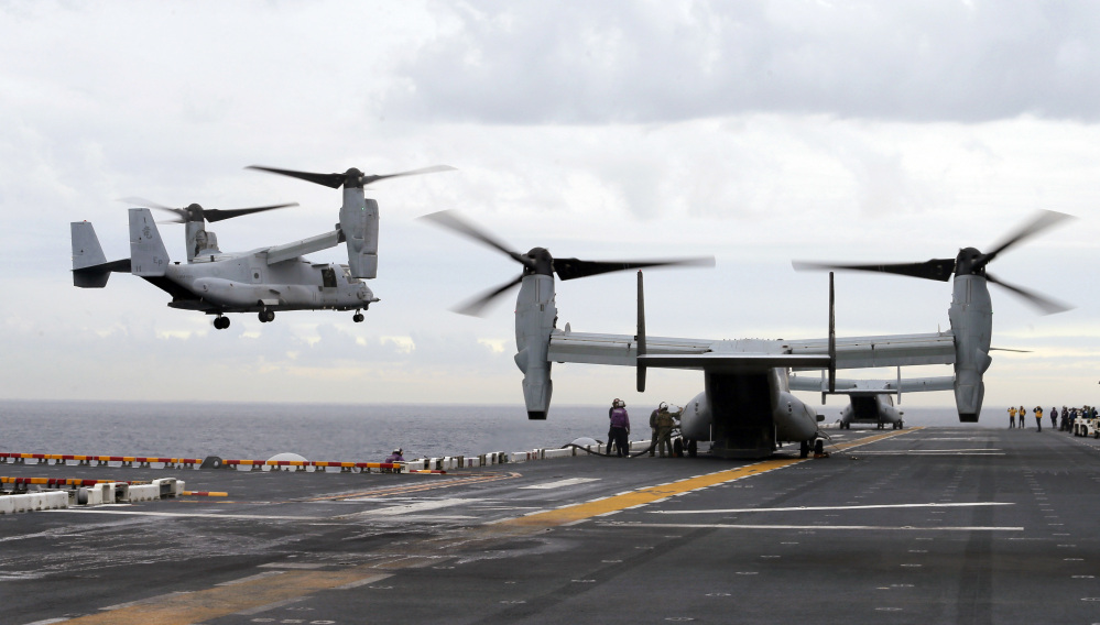 A U.S. Marine MV-22B Osprey aircraft lands on the deck of the USS Bonhomme Richard amphibious assault ship off the coast of Sydney during joint military exercises between the United States and Australia.