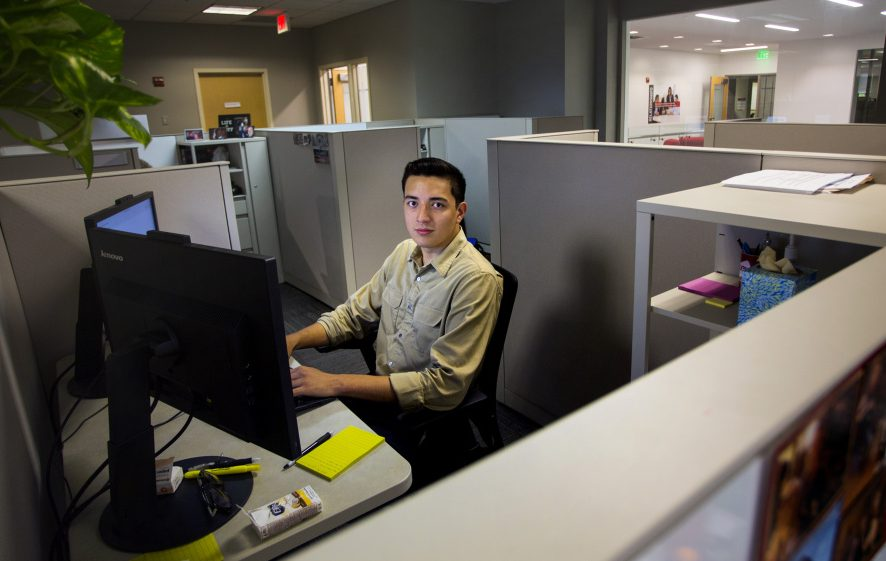 "Luis Paniagua was a summer intern at Wex Inc. in South Portland after his senior year at Bowdoin College. He has since been hired full-time as a treasury analyst. ""Wex was a good fit, and I wanted to stay in Maine,"" he said."