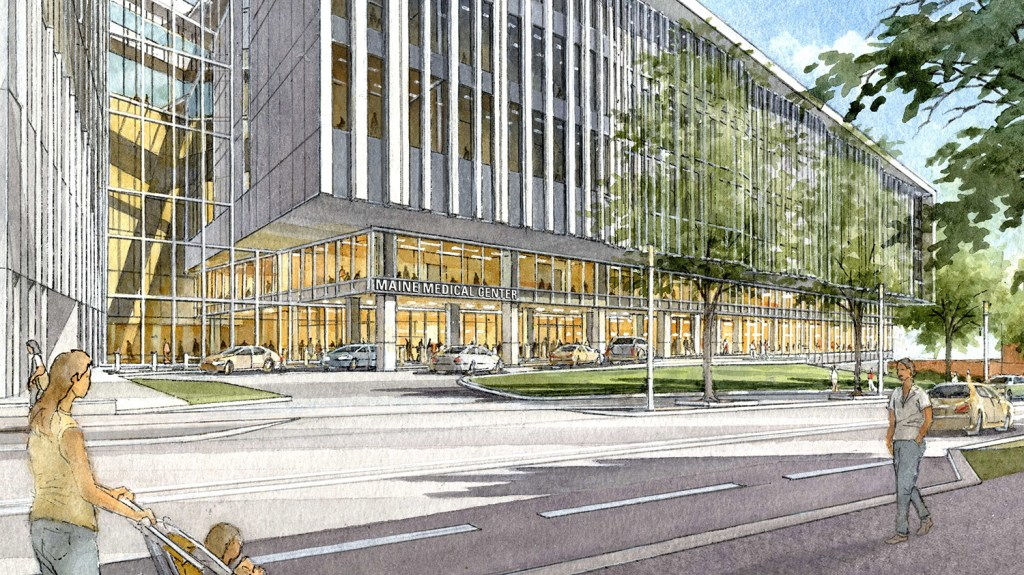 This rendering shows the proposed $512 million renovation and expansion project for Maine Medical Center in Portland. The expansion would add single-patient rooms, operating rooms and a new entranceway facing Congress Street.