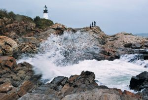 HEAVY SURF kicked up by Tropical Storm Jose crashes into the rocky coast at Portland Head Light on Wednesday in Cape Elizabeth. Jose is expected to linger in the Atlantic Ocean southeast of Massachusetts for the next several days.