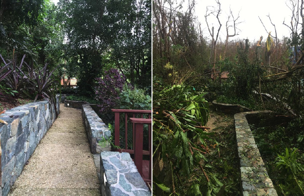 A before and after photo of the walkway leading away from the house Stephen Crepeau and his girlfriend stayed in during the storm in St. John island. The couple are now on their way back to US. SUBMITTED PHOTO/CourtesyOfStephenCreapeau