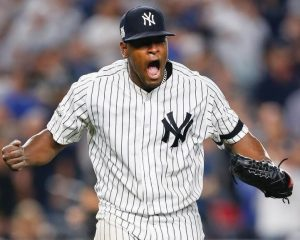 NEW YORK YANKEES pitcher Luis Severino reacts at the end of the top of the seventh inning against the Cleveland Indians in Game 4 of baseball's American League Division Series on Monday in New York. Severino earned the win as the Yankees downed the Indians, 7-3, to even the best-of-five series at 2-2. Game 5 is Wednesday in Cleveland.