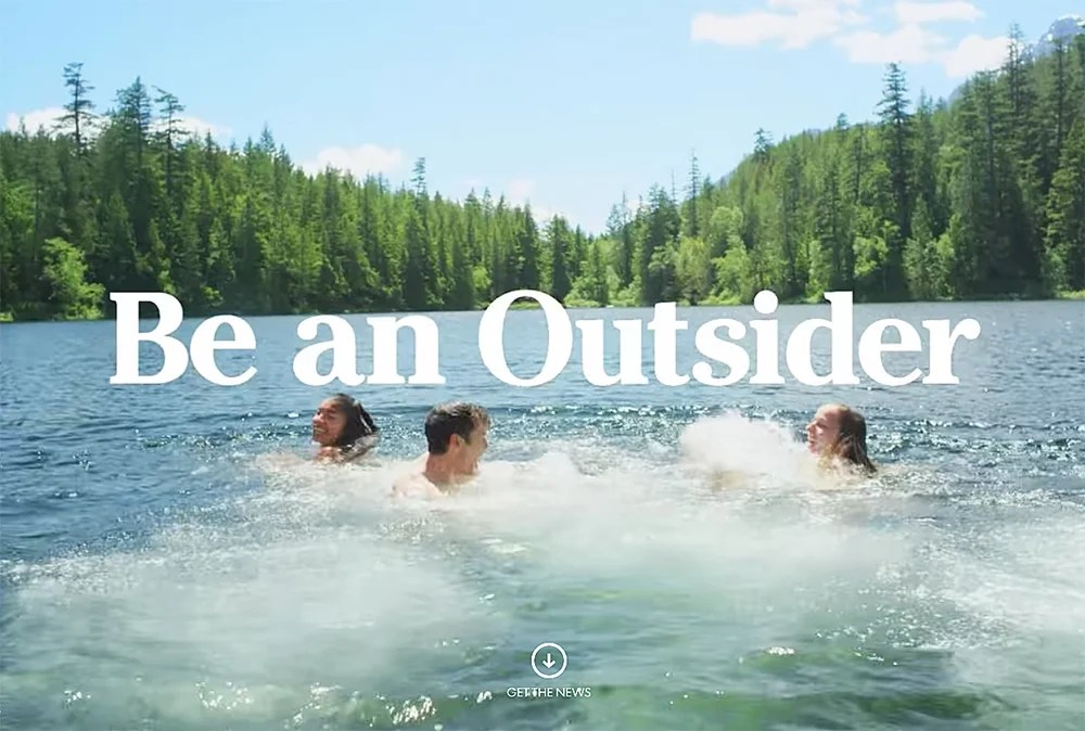 "A screen image from L.L. Bean's ""Be an Outsider"" advertising campaign."