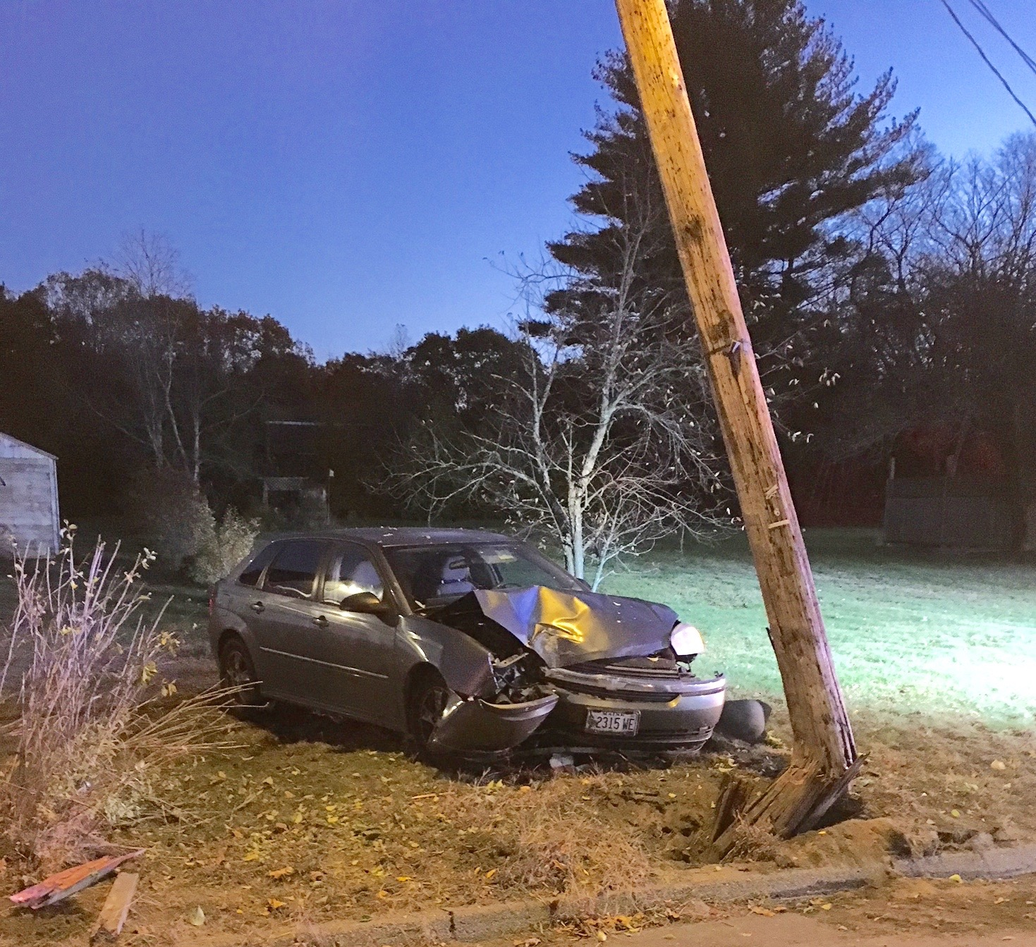 A driver fell asleep at the wheel and crashed into a utility pole on West Road near Pole Line Lane in Waterboro at about 6:15 a.m. Tuesday. COURTESY PHOTO/York County Sheriff's Office