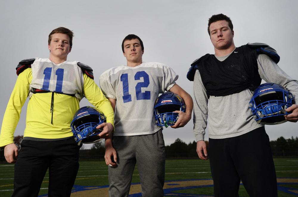 The Allen brothers – left to right are Shane, Josh and Coleman – are hard-hitting linebackers for a Falmouth team that will take on Marshwood for the Class B South title.