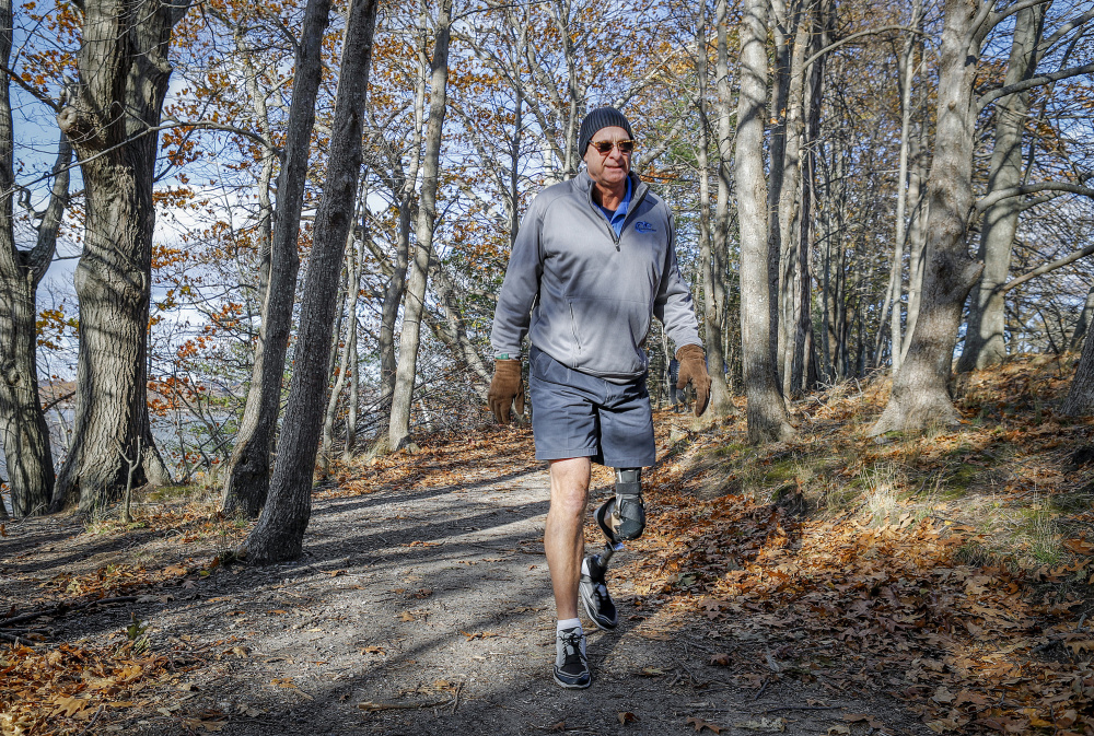 """John LeMieux, president of the Amputee Association of Maine, visits Mackworth Island in Falmouth last week. """"It sounds like other states have attacked (access) in a much more direct way than Maine has,"""" says the 58-year-old, who lost his left leg to cancer in 2012. One suggestion: A Maine state universal outdoor access website. """"How sweet would that be?"""""""