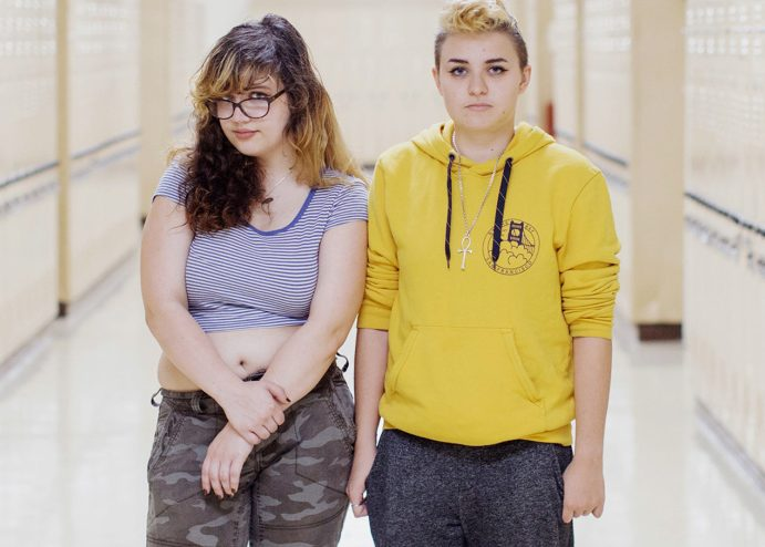 Izzy Smith, left, and Alexander Fitzgerald, both 18-year-old seniors at Deering High School in Portland, helped shape the policy that city school officials created to address transgender issues.