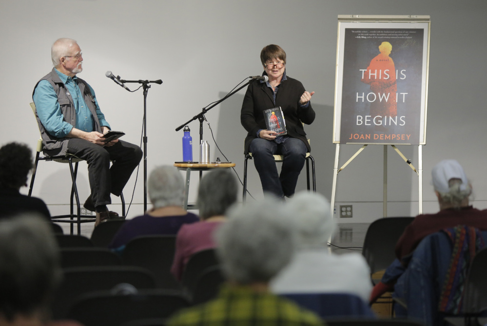 Joan Dempsey talks about her book, This is How it Begins, with Frank O. Smith at the Portland Public Library on Wednesday, November 15, 2017.