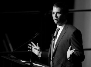 DONALD TRUMP JR. speaks during a fundraiser for Faulkner University in Montgomery, Ala. on Oct. 5. President Donald Trump's son communicated with the Twitter account behind WikiLeaks, according to a report from The Atlantic.