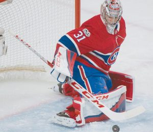 MONTREAL CANADIENS goalie Carey Price makes a save during second-period NHL hockey game action against the Columbus Blue Jackets in Montreal on Monday. Price finished with 37 saves as Montreal ended Columbus' six game winning streak with a 3-1 win.