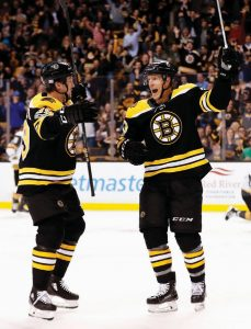 BOSTON BRUINS FORWARD Riley Nash, right, celebrates his goal against the Vegas Golden Knights with teammate Matt Beleskey during the second period of an NHL hockey game in Boston on Thursday.