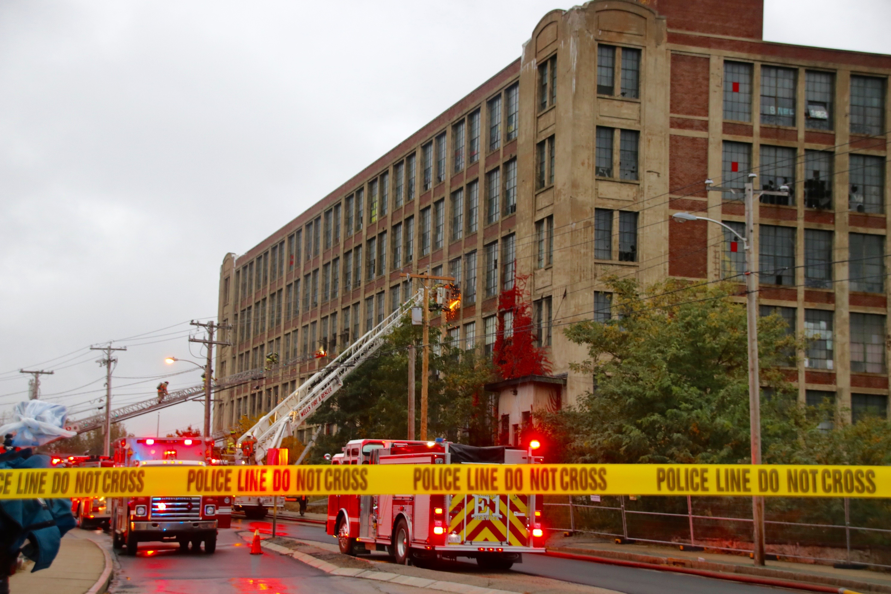 A fire in the front tower of the Stenton Trust mill on River Street in Sanford Thursday morning was quick knocked down. The fire was no where near the magnitude of the blaze that gutted there rear tower of the vacant mill June 23, but outlines the need for demolition, city officials say. TAMMY WELLS/Journal Tribune