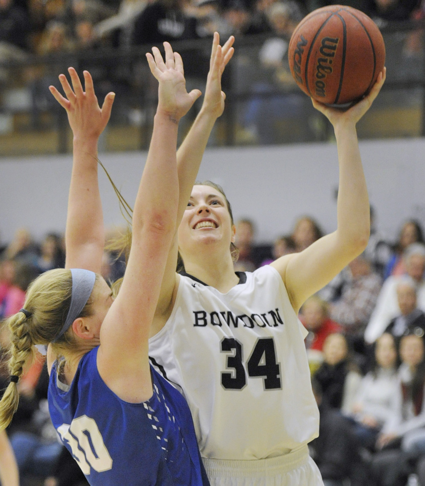 Cordelia Stewart, a junior center from Bangor, is one of the five Mainers on the roster for Bowdoin this season.