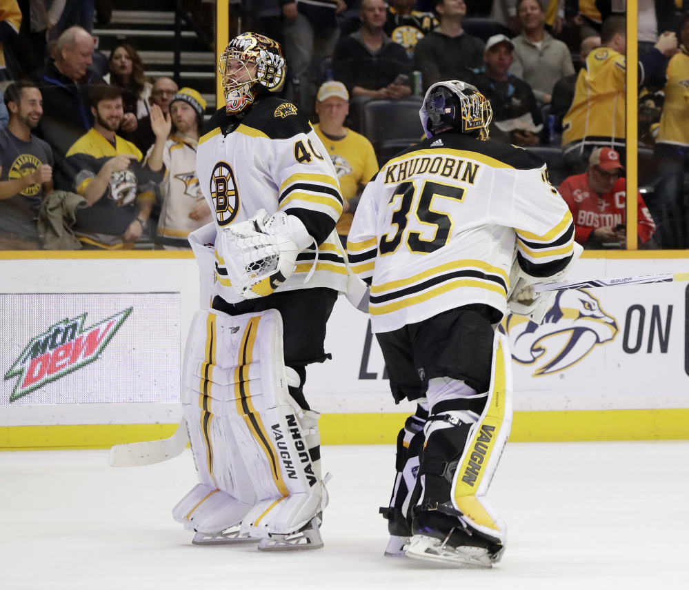 Tuukka Rask (40) replaces Anton Khudobin in goal for the Bruins in the second period after Kyudobin gave up four goals against the Nashville Predators on Monday night.