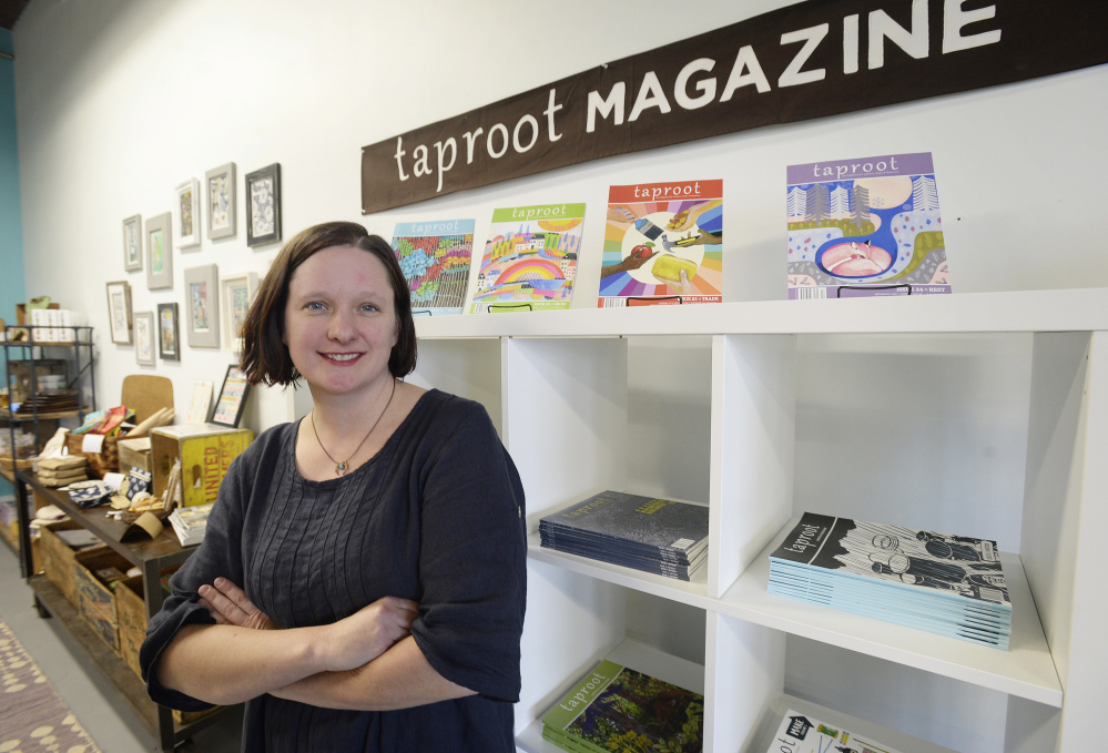 Amanda Blake Soule, editor of Taproot magazine, in her Portland office at Milk and Honey café on Cove Street.